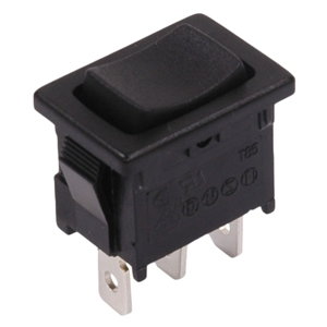 Momentary Mini Rocker Switch, Three Prong (Up, Off, Down)